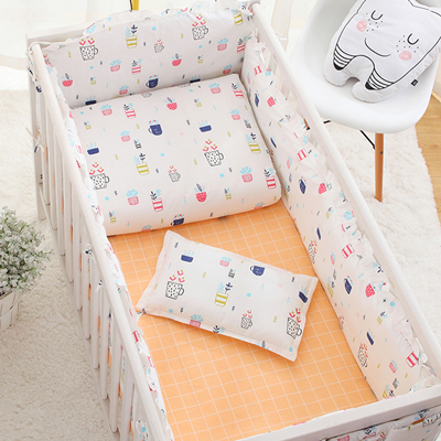 7PCS baby bedding bumper crib linen cotton crib bumper baby cot bedding set baby duvet pillow,(4bumper+sheet+pillow+duvet) fashion black kitten printed square composite cotton linen blend pillow case