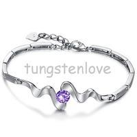 Unique Style Silver Purple Cubic Zirconia Stone Bangle Bracelet 8 7 Extender For Teen Girls Ladies
