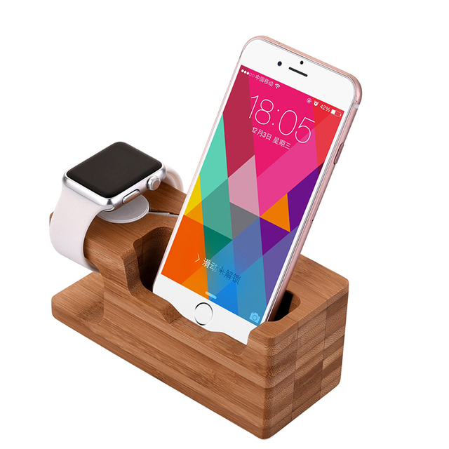 Bamboo Charging Phone Stand Mobile Phone Holder 3USB Support Telephone For i Watch iPhone6s iPhone7 Samsung Galaxy