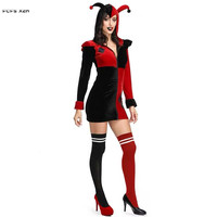 Women suicide squad Harley Quinn Cosplay Female Halloween Circus Clown droll Joker Costumes Carnival Purim Role play Party dress