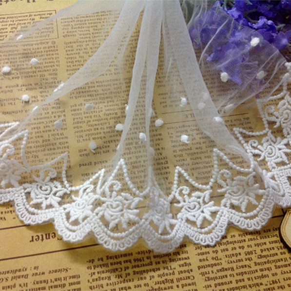 10Yards/lot White Embroidered Lace Fabric, Vintage Rose design Trim, Mesh Lace  Trim