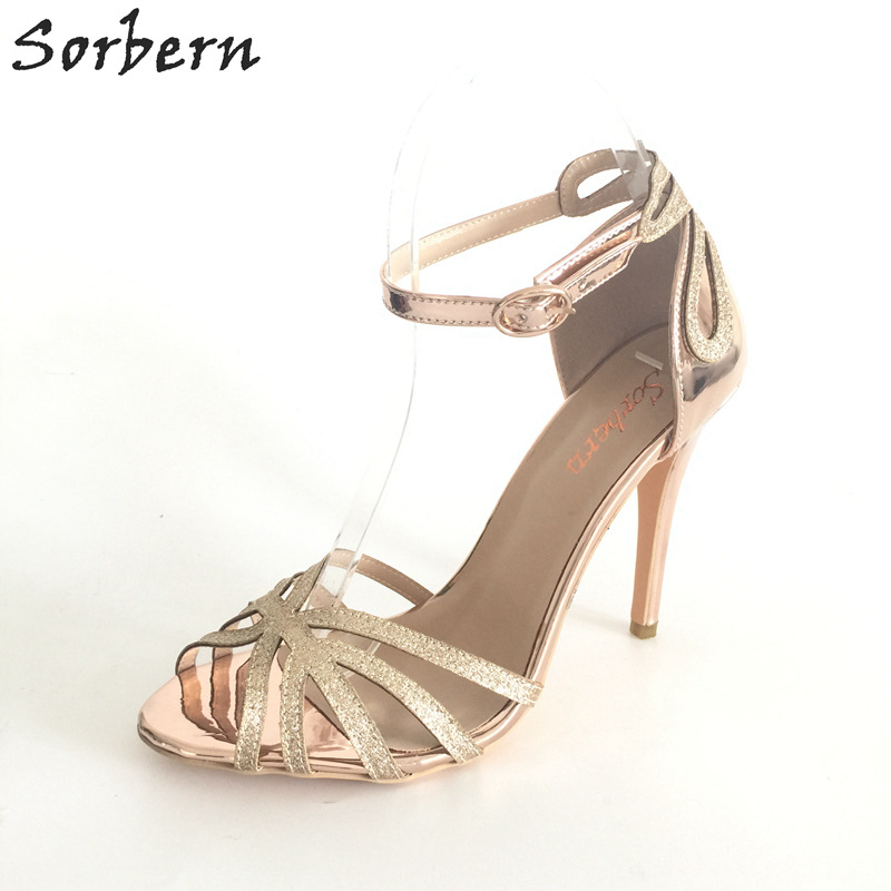 Sorbern Rose Gold Shiny Pu Glitters Womens Summer Shoes thin High Heels Open Toe Ankle Straps Wedding Shoes Sandals Stilettos custom made sandals open toe sandalias women shoes wedding party pumps thin high stilettos pu cover heel t straps shoes