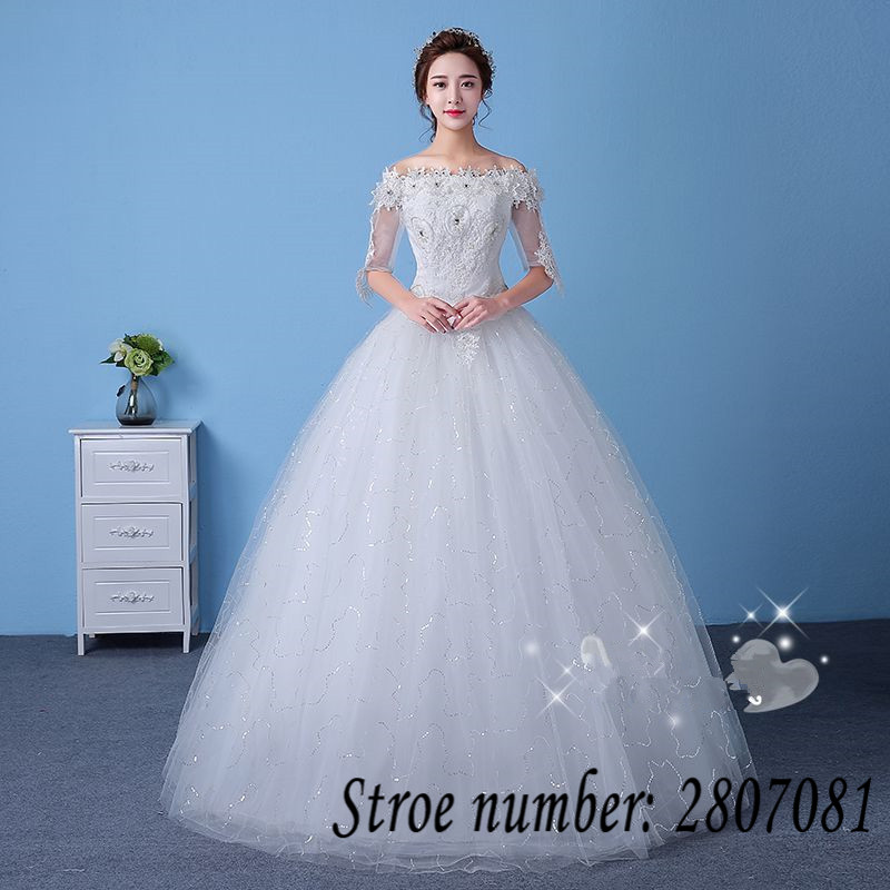 Plus Size Boat Neck Sequins Tulle Half Sleeves Wedding Dresses Cheap ...