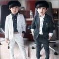 2016 marca nuevos muchachos rayas Formal de la boda de muchachos del estilo de inglaterra juego de la chaqueta de noche fiesta de niños esmoquin muchachos ropa Formal