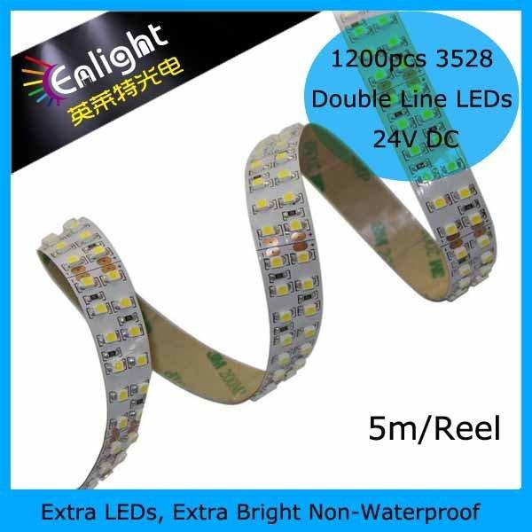 1200 leds,SMD 3528,19.2W/m, white double layer PCB, 12V/24V DC, IP20, Brightness ever, 1500lm 5m/reel 2reel(10m)/lot
