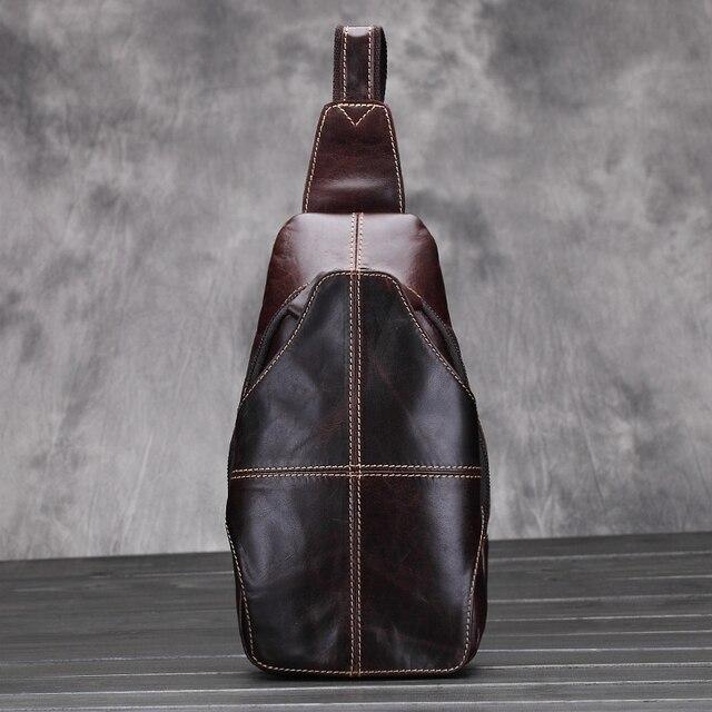 2017 nuevo ocio de moda paquete de pecho de Cuero de Caballo Loco de los hombres paquetes de la cintura de los hombres 100% genuino Bolso de Cuero de la vendimia cuero