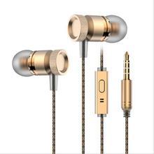 Professional In-Ear Earphone Metal Stereo Earphone With Mic Pad For Apple Iphone 5 6 7 Samsung Sony Xiaomi  Earphone Headphone