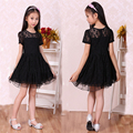 2015 New summer Spring  Fashion children's Girls Lace Princess Dress Girl's Hollow Chrismas New Year Short-sleeved Dresses
