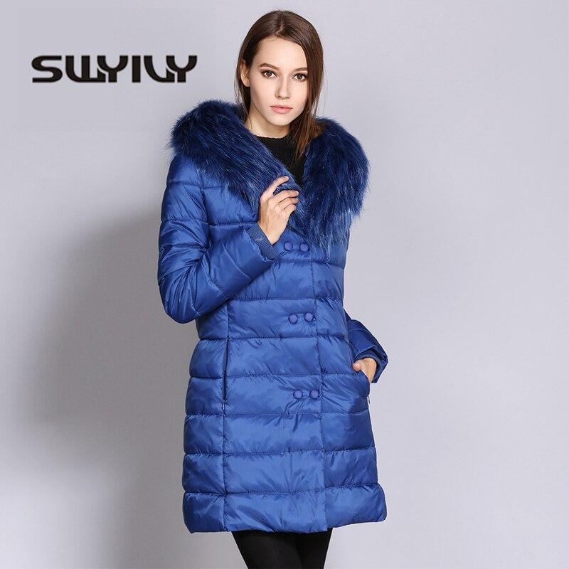 SWYIVY Woman Parkas Large Fur Collar Long Design 2018 Winter New Warm Female Fashion Slim Jacket Coats Women Parka Big Size XXXL
