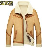 Mens Sheepskin Casual Coat Winter Male Fur Coat Men's Leather Jacket Velvet Thicken Leather Fur Coat Manteau Fourrure Homme