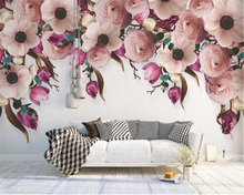 beibehang Custom silk cloth wall paper American hand-painted rose flower rattan modern background papel de parede 3d wallpaper