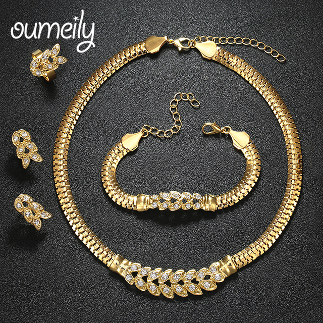 OUMEILY African Beads Wedding Jewelry Sets Imitation Crystal Gold Color Bridal Necklace Bracelet Earring Ring Charm Accessories