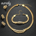 OUMEILY African Beads Wedding Jewelry Sets Imitation Crystal Gold Plated Bridal Necklace Bracelet Earring Ring Charm Accessories