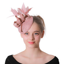 Top Quality Bridal Sinamay Fascinator British Royal Wedding Pink Hat  Feathers Kentucky Derby Church Party Fedora Hats