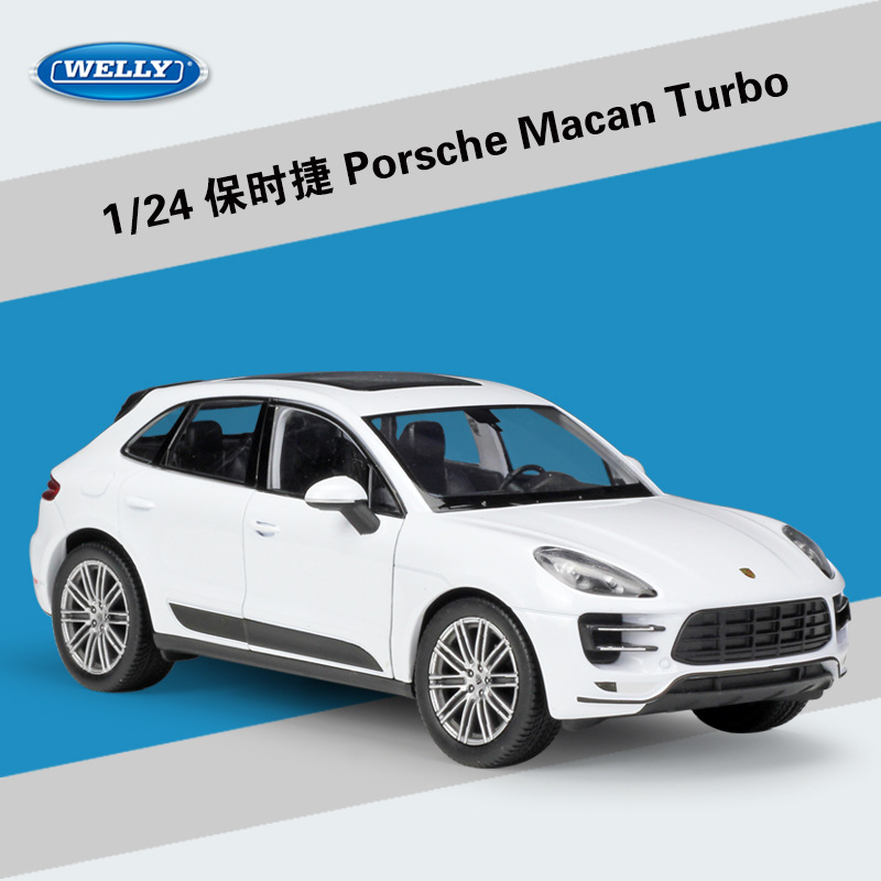 WELLY 1:24 Metal Porsche Macan Turbo Vehicles SUV Sports Car Alloy Model Diecast Car Kids Gift Car Toys Collection Free Shipping