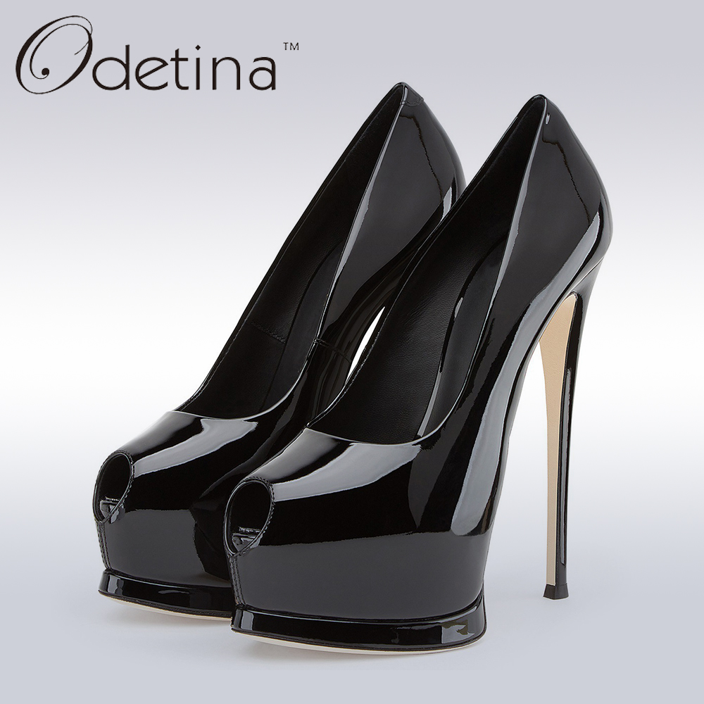 Odetina 2018 Brand Plus Size Women Sexy Open Toe High Heels Platform Shoes Pumps Stiletto Heel Super High Peep Toe Party Shoes big size high spike heel platform women pumps peep open toe leopard patent leather party wedding slip on sexy lady thin stiletto