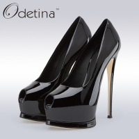 Odetina 2018 Brand Plus Size Women Sexy Open Toe High Heels Platform Shoes Pumps Stiletto Heel Super High Peep Toe Party Shoes