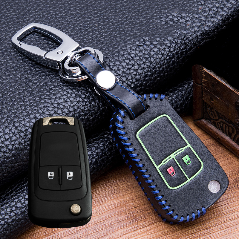 Image 3 - Hand sewing Luminous Leather  Key Holder Cover Case For buick Chevrolet Cruze Aveo TRAX Opel Astra Corsa Meriva Zafira Antara-in Key Case for Car from Automobiles & Motorcycles