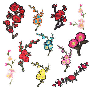 Patch for Rose Plum Blossom Clothing Iron on Embroidered Sewing Applique Flower Sew on Fabric DIY Apparel Accessories Decoration