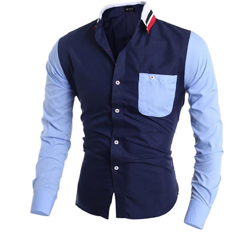 Férfi ing hosszú ujjú 2018 márka ing alkalmi férfi Slim Fit helyesírás színes zseb dekoráció férfi Camisas ruha ingek 3XL WPS