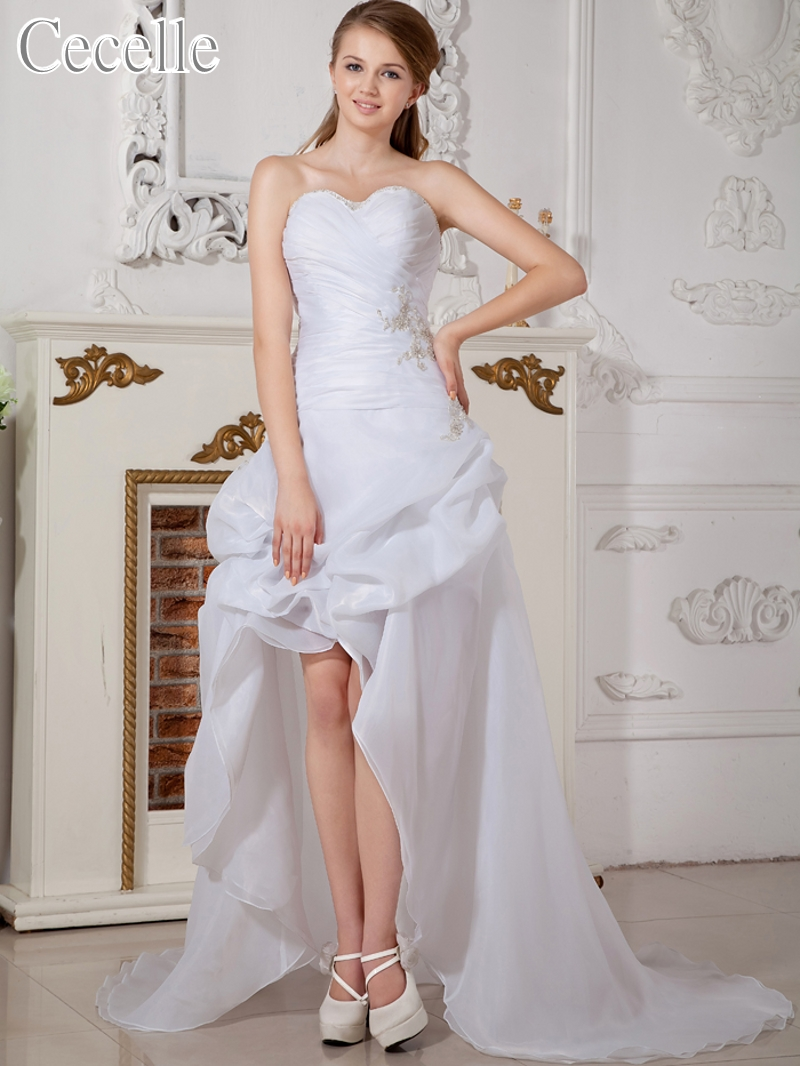 High Low Short Reception Wedding Dresses Modern White Hi