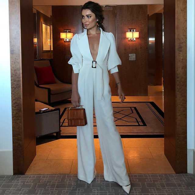 f7bb64c96ca7 Women Full Length White Jumpsuits Sexy Medium Sleeve Casual Deep V Neck  With Belt Party Jumpsuit Vestidos 2019 Women s Clothes