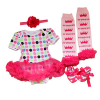 Baby Girl Dress 4PCS Clothes Sets Baby Romper Infant Clothing Tutu Dres Outfit Shoes Jumpsuit Bebes Vestidos Christmas Birthday