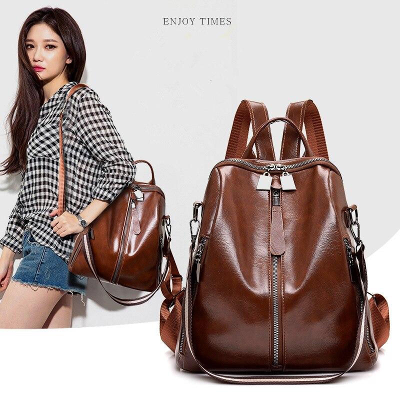 2019 New Fashion PU Leather Women Backpack Female Waterproof Oil Wax Women Leather Backpack Shoulder Bag Mochila Feminina