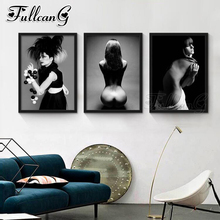 FULLCANG 3pcs diy diamond embroidery sale sexy woman 5d painting full square/round drill triptych allure arts set FC1134