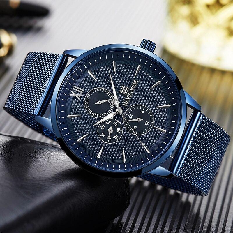 New NAVIFORCE Fashion Sports Watches Men Blue Stainless Steel Mesh Band Waterproof Business Male Clock Men's Quartz Wristwatch|Quartz Watches| |  - title=