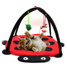 Funny Multifunctional Pet Cat Bed Toy Cat Tent Toys Mobile Activity Playing Bed Pad Blanket House Foldable Kitten Tent For Cats kitty bed toys cats mobile activity playing tent leopard zebra mat