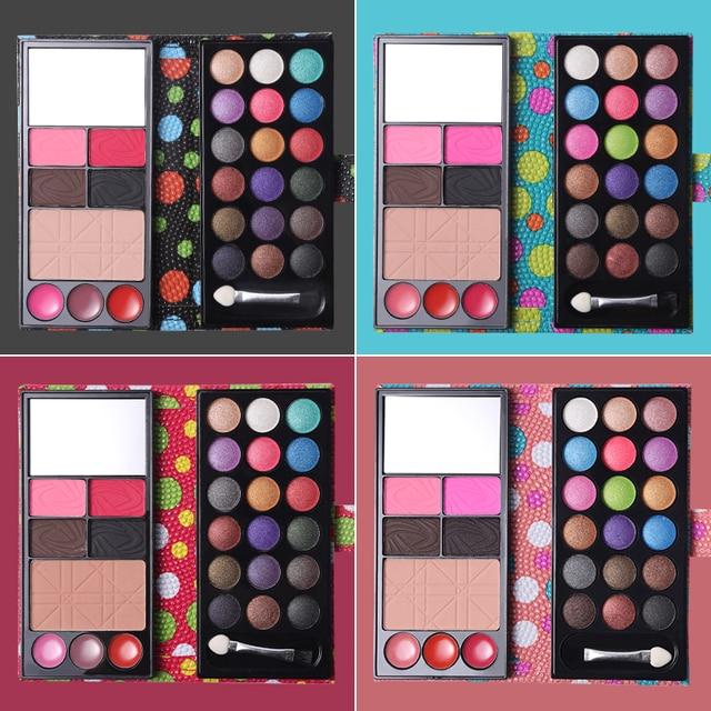 איפור סט 18 צבע שמר צלליות צבעים + 3 צבע שפתון + סומק + אבקת גבה + פנים עור גימור אבקה עם מברשת