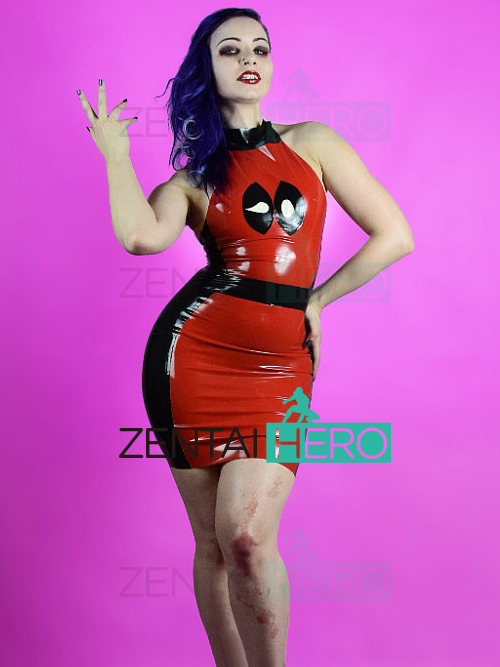 Free Shipping DHL Black And Red PVC Deadpool Cosplay Costume Lady Sexy Dress Bodysuit For Halloween Party Superhero Girl Costume