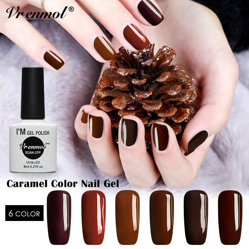 Vrenmol 6 Colors Soak Off UV Caramel Coffee Color Series Nail Gel Polish Elegant Chocolate Brown Manicure Gel Varnish Lacquer