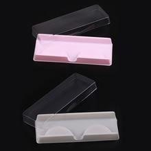 1 Set Strip Eyelash Box Packaging Beige/Pink Bottom with Transparent Cover Lash Case Protection Eye Lashes Storage Reuseable