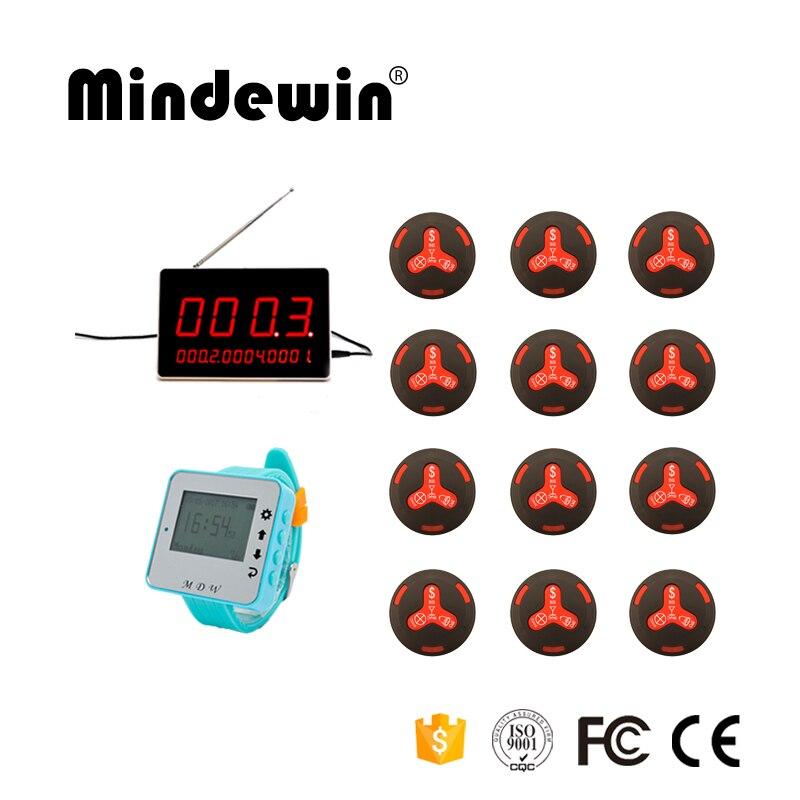 Mindewin Guest Chiamata di Servizio di Paging del Sistema di Chiamata di Allarme Senza Fili 1 Nuovo Orologio + 1 LED Display del Ricevitore + 12 Cercapersone di chiamata del Cameriere di Bottoni