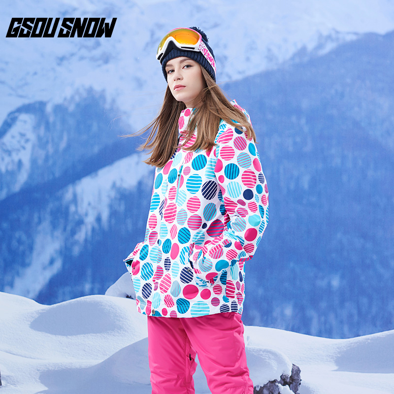 GSOU SNOW Brand Ski Jackets Women Winter Skiing Snow Clothes Waterproof Snowboarding Jackets Ladies Warm Outdoor Sports Coats цена