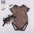 ELE Olá Desfrutar de grãos Leopardo bodysuit do bebê Bebê roupas de menina recém-nascidos define curta (manga curta romper + faixa de cabelo + sapatos)
