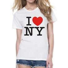 09042ee8bade2 2018 Femmes New York T-shirt D été À Manches Courtes J aime NY Lettre  Imprimé T-shirt Occasionnel O-cou New York T-shirt fraîche.