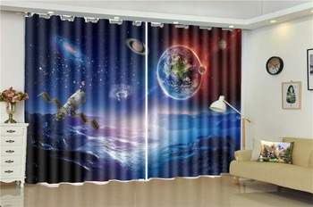 Printing Blackout 3D Window Curtain Dream Space Rotation Planet Beautiful And Practical 3d Digital Printing Curtains