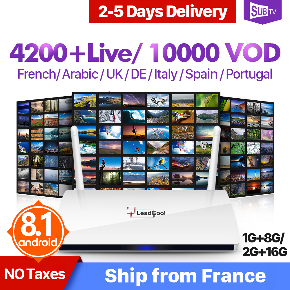 Leadcool IPTV France Subscription TV Box Android WiFi Full HD Live Turkish Arabic Portugal IPTV Receiver