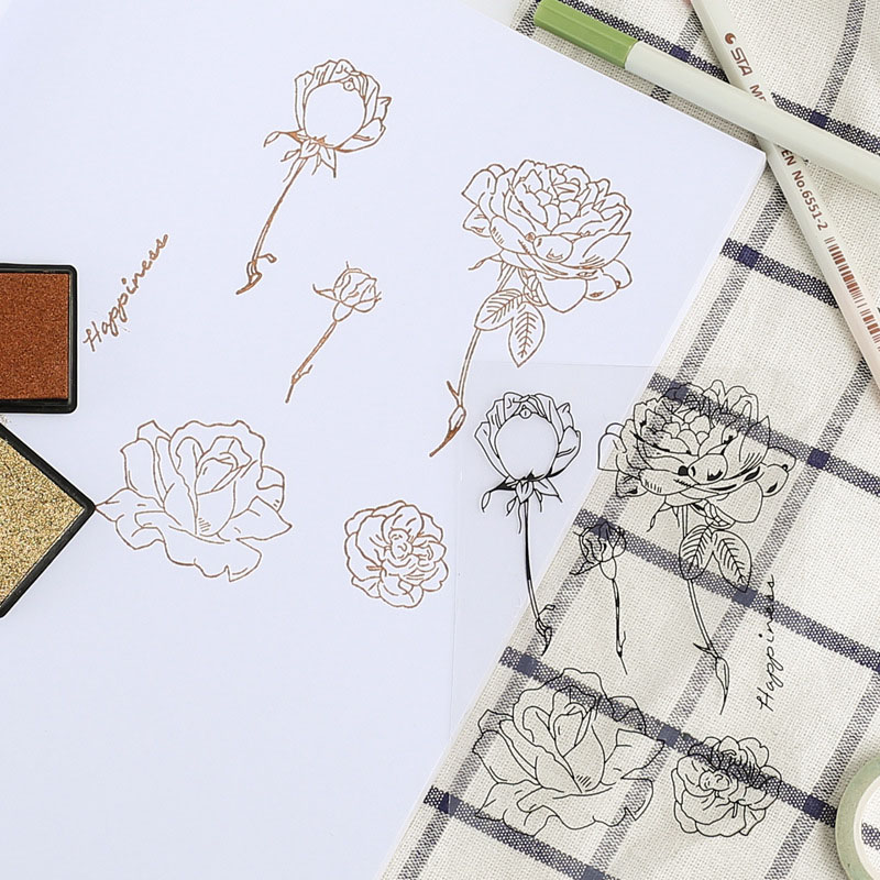 Romantic Vintage Rose Flower Clear Stamps Scrapbooking Diy Decoration Silicone Rubber Stamps Card Making Dairy Free