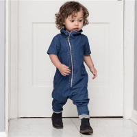 2016 New Autumn Handsome Baby Rompers Jumpsuit Boys Fashion Jeans Oblique Zipper Soft Denim Overalls Kids