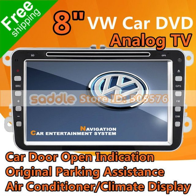 """8"""" VW Car DVD Player For VW & Skoda with GPS + Car Door Open Indication + Parking Assistance + Air Conditioner + Climate Display"""