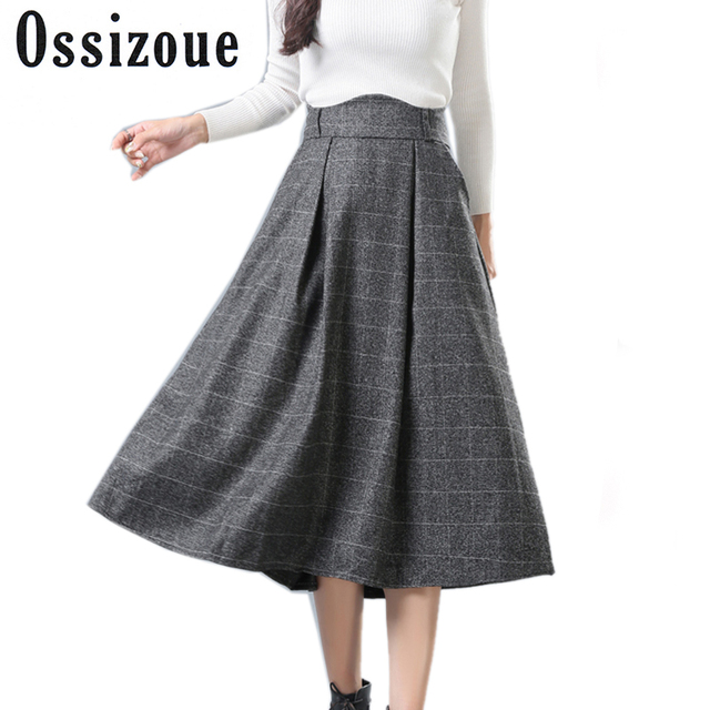 Women s Skirts Tartan Kilt Plaid Skirts Plus Size Thick Winter Vintage  Woolen Umbrella Long High Waist