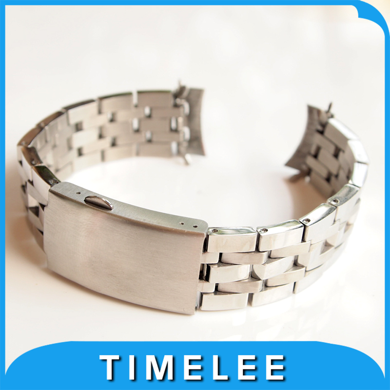 Silver polishing 19mm <font><b>PRC200</b></font> T17 T461 T014430 T014410 Watchband <font><b>Watch</b></font> Stainless steel bracelet strap image
