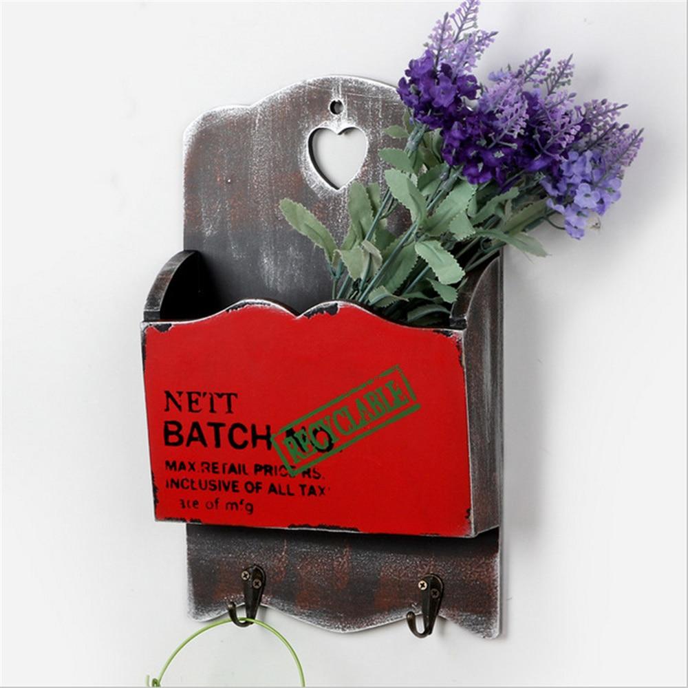 retro wooden organizer wall hanging box key hooks Flower pot mailbox Home Furnishing decoration Letter box holder