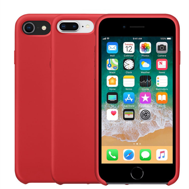 with LOGO Original Style Silicone Case For Apple iPhone 7 Coque Fundas For iPhone 8 Plus Cover For iPhone X 6 6S Plus Retail Box