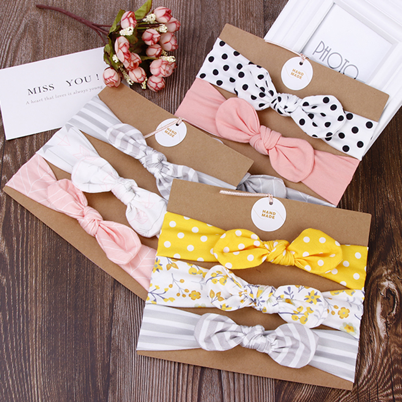 New 3PCS/Lot Fashion Baby Girls Bow Cotton Headbands Cute Children Hair Bands   Headwear   Hairbands Bandanas Kids Hair Accessories