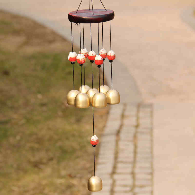 Creative Door Hangings Solid Wood Ceramic Fortune Cat 8 Brass Bells Wind Chime Shop Home Decor Lover's Wedding Gifts